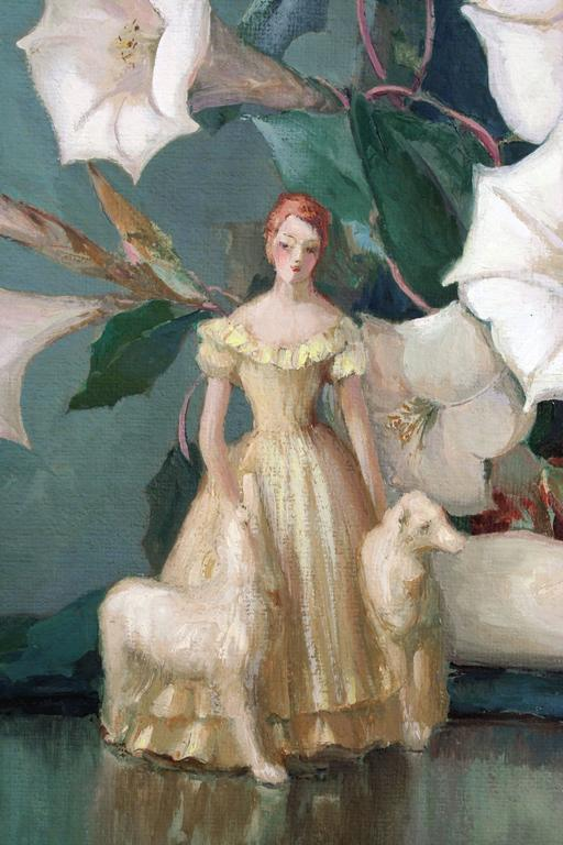 Art Deco Figurine with Dogs Amid Lilies Still Life - Painting by Nell Walker Warner