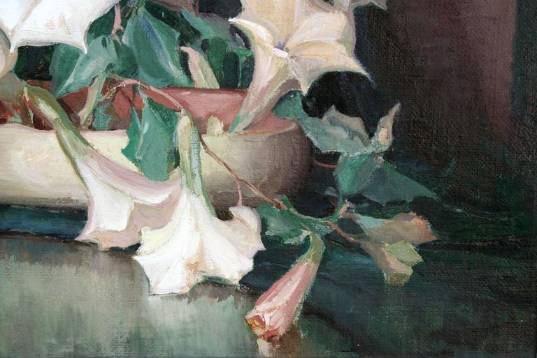 Art Deco Figurine with Dogs Amid Lilies Still Life - Gray Still-Life Painting by Nell Walker Warner