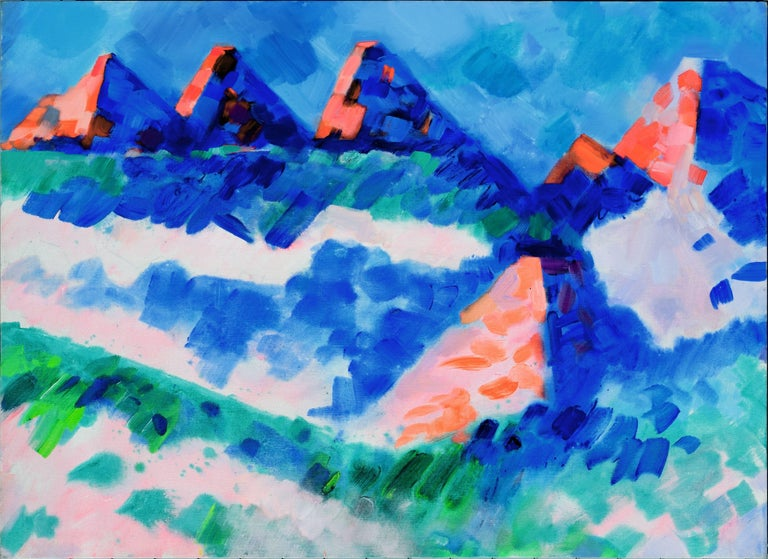 Erle Loran Abstract Painting - Summer Mountains, Wyoming Abstracted Landscape