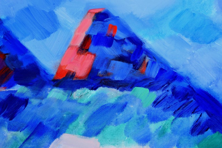 Summer Mountains, Wyoming Abstracted Landscape - Abstract Expressionist Painting by Erle Loran