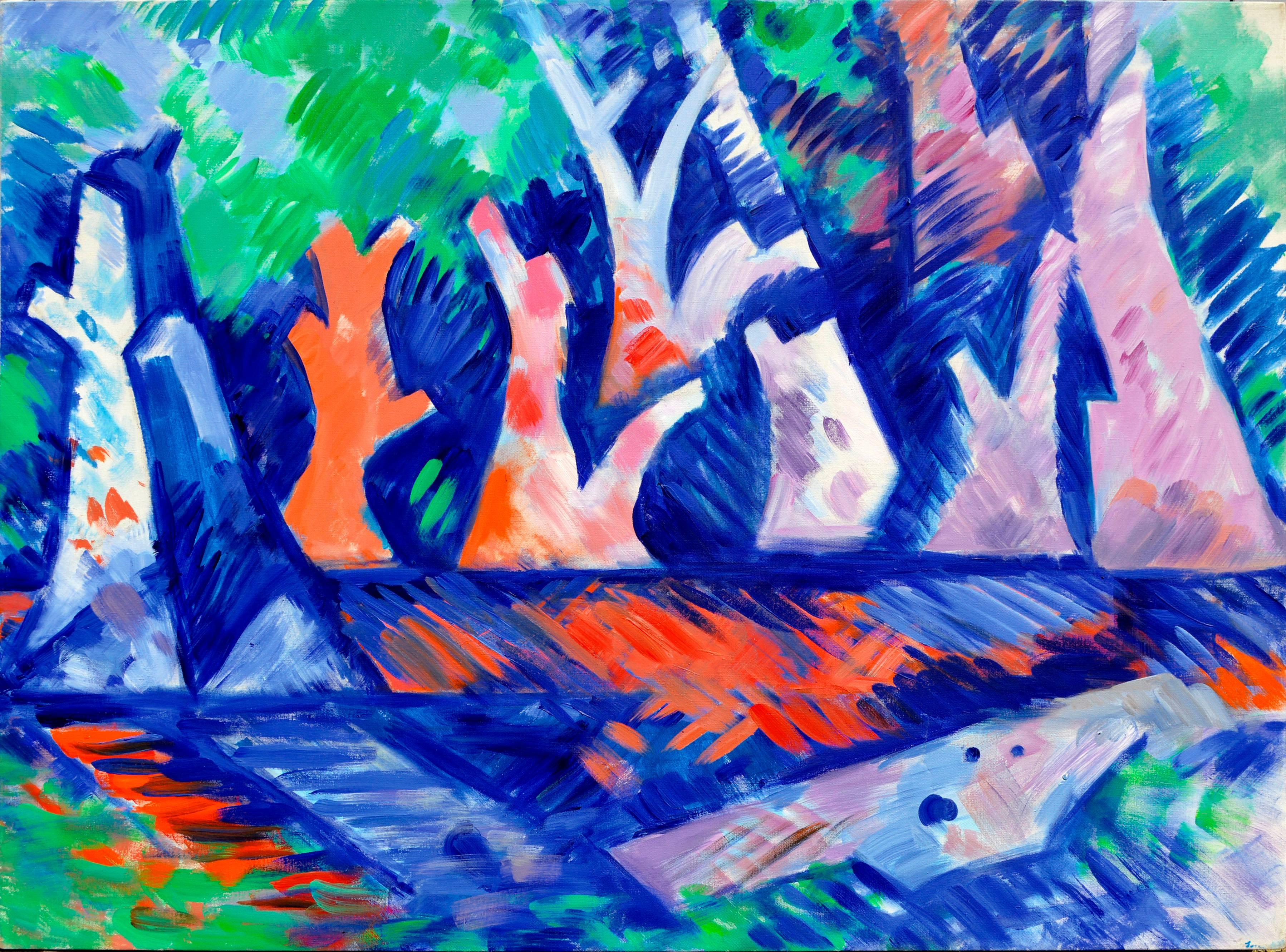 Trees Over Water - Abstract Geometric Landscape