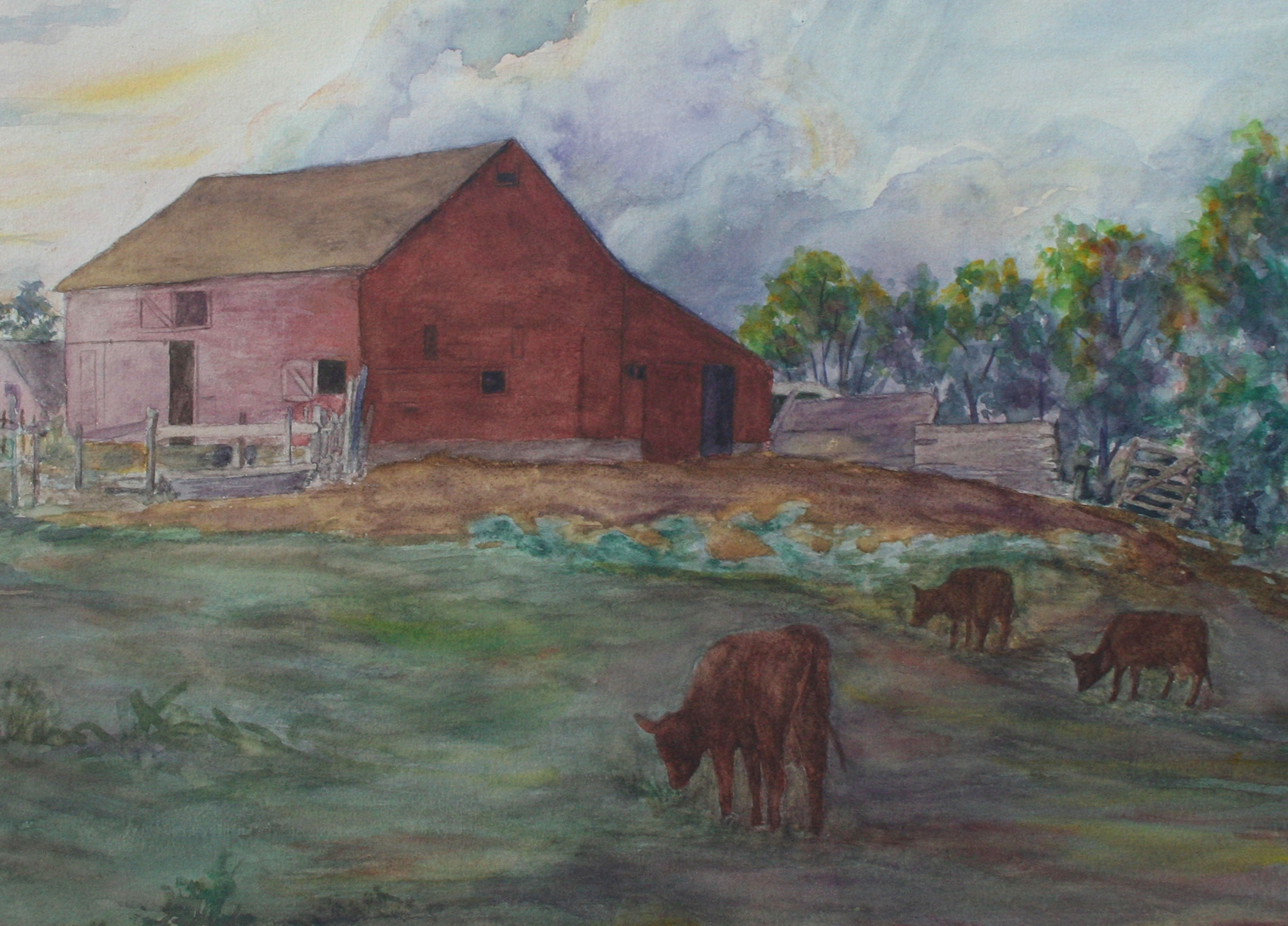 Picturesque Red Farmhouse, 1940