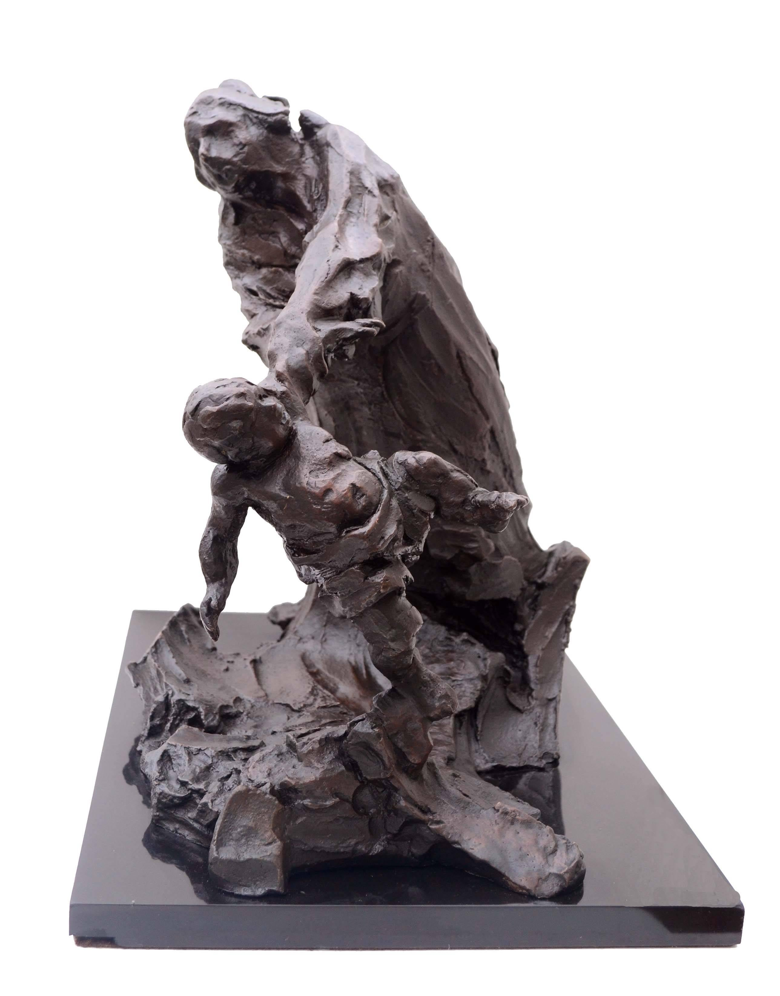 Figural Bronze Sculpture of Mother and Fleeing Toddler