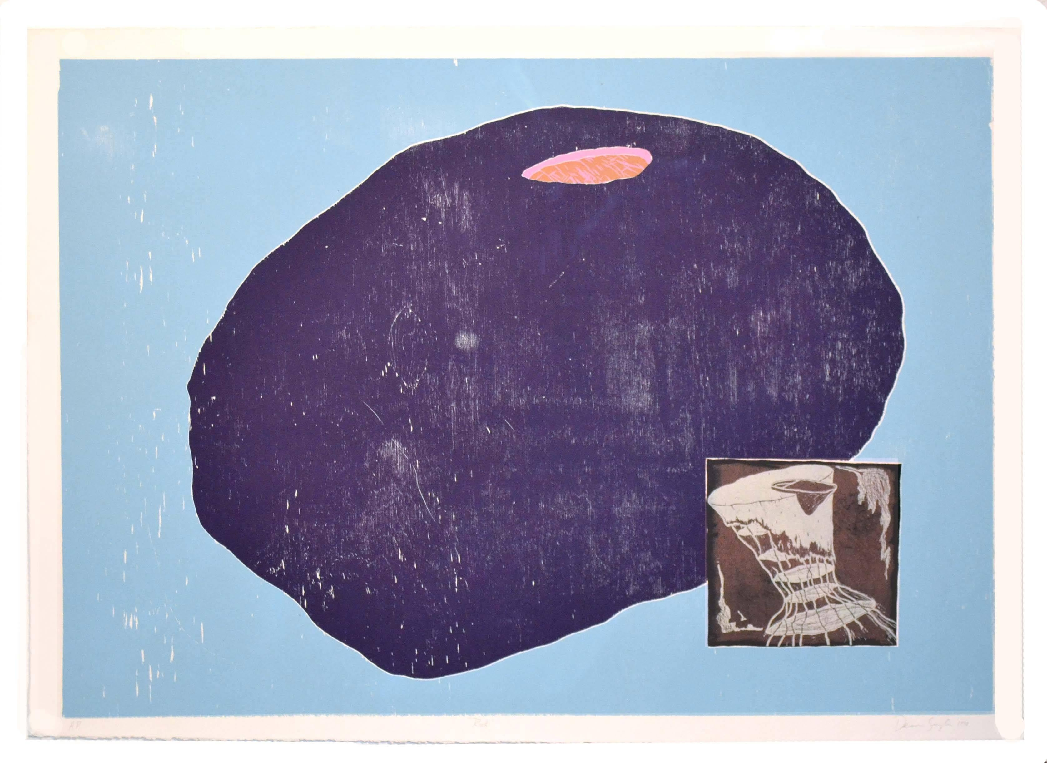 Rock with Teapot Jelly Fish - Figural Abstract Silkscreen