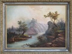 19th Century Scottish Loch & Fisherman