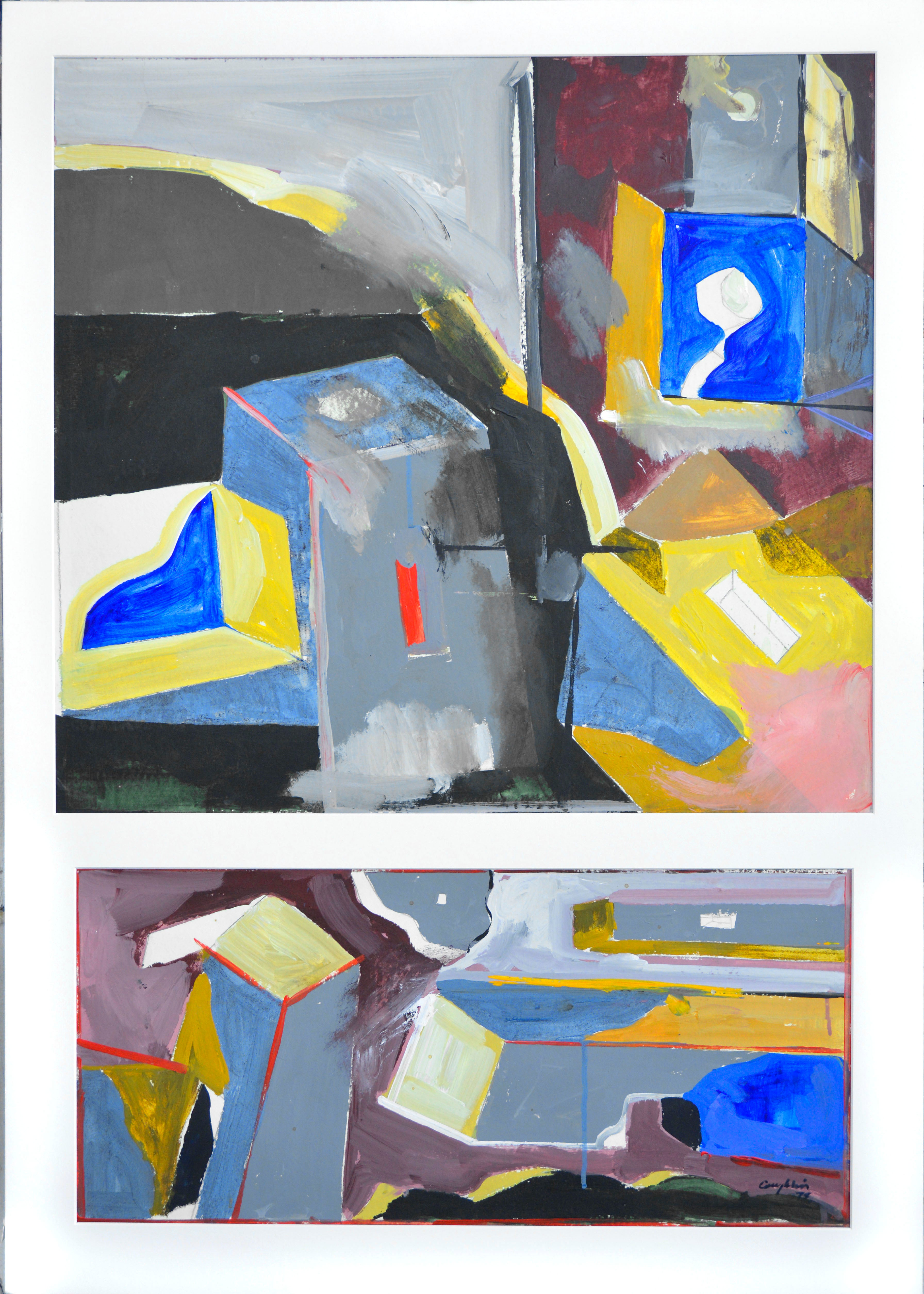 Entrance One Collage Abstract Diptych