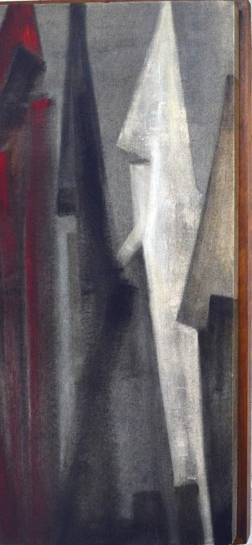 The Gathering  - Gray Abstract Painting by Joseph Ullery