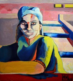 Blue Scarfed Woman