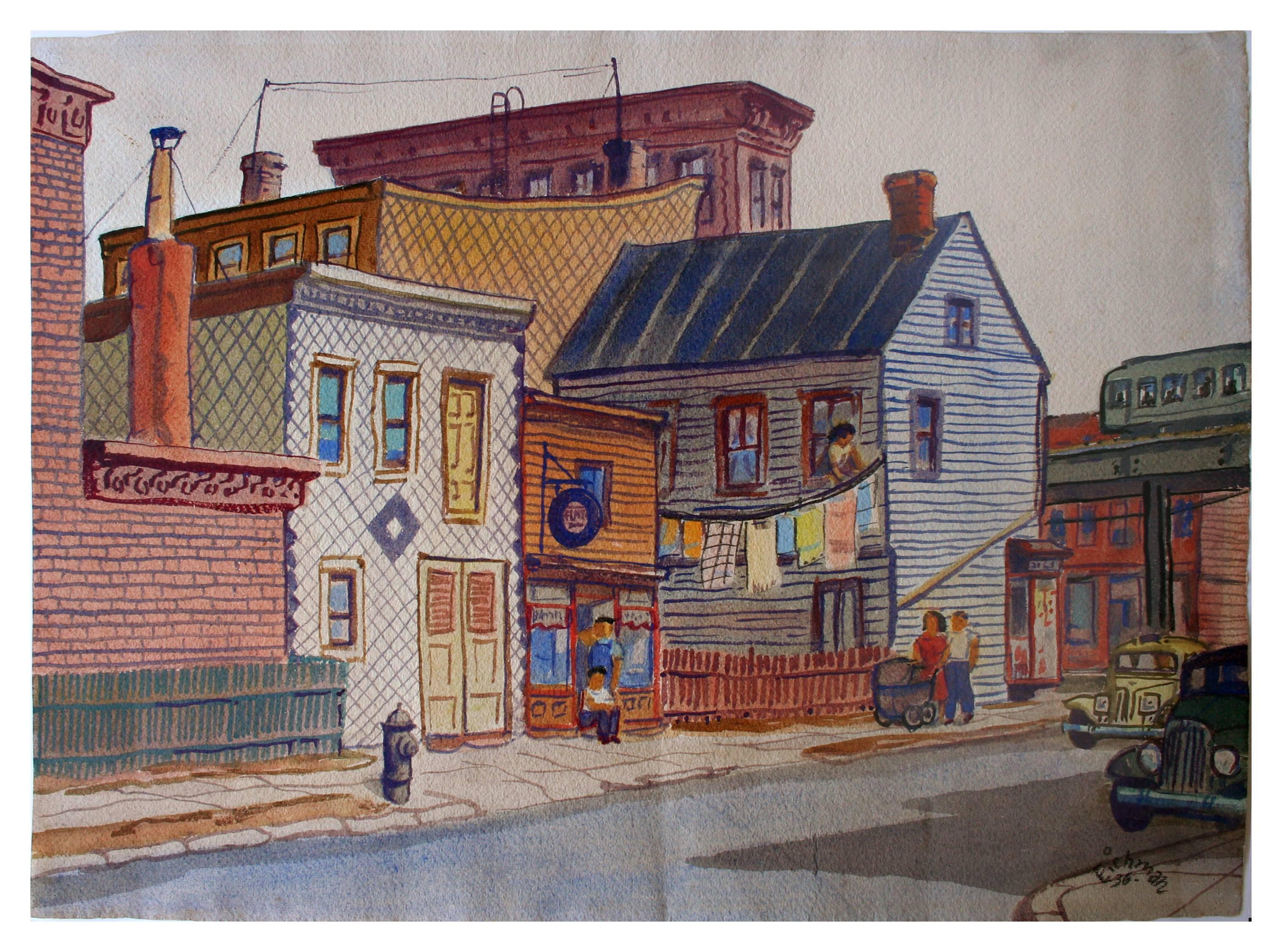 Society of Six Street Scene - Figurative Abstract