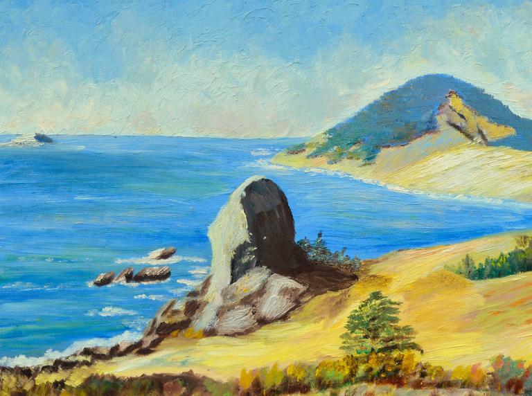 Big Sur, California by Ellen Pearl Johnson - Black Landscape Painting by Pearl Johnson