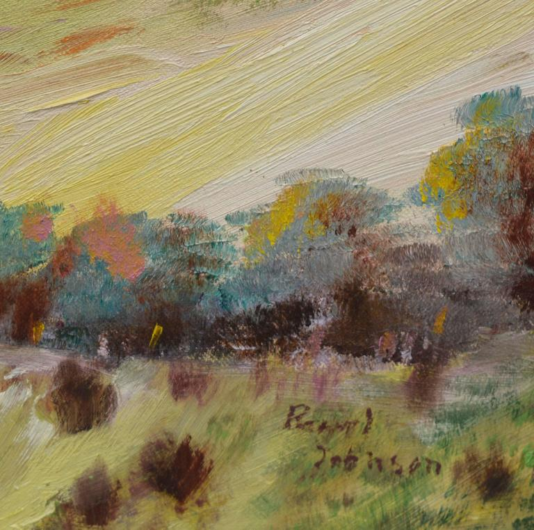 Dynamic landscape oil painting of Big Sur, California by Berkeley California artist Ellen Pearl Johnson (American, 1935-2019). An exceptionally talented artist and her execution of brush work is inspiring. Presented in a wood frame. Signed