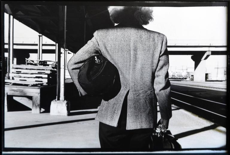 Arrival or Departure (After Hitchcock) 1987 Betty Hahn - Gray Black and White Photograph by Betty Hahn