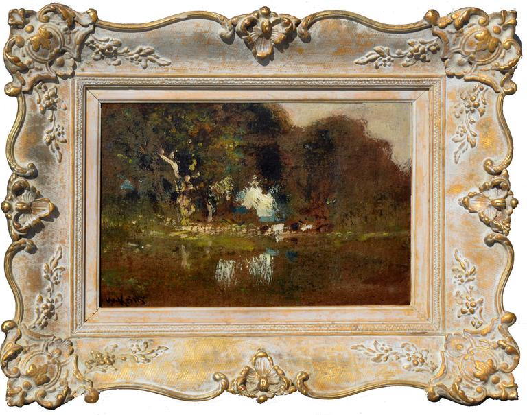 William Keith Landscape Painting - Cattle By Pond At Dusk