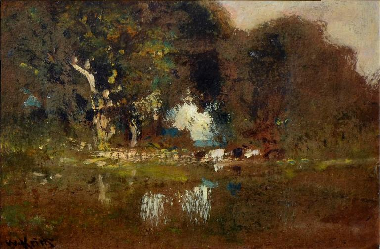Cattle By Pond At Dusk - Painting by William Keith