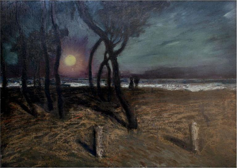 Mid Century Pacific Grove Moonlight Nocturnal Landscape - Painting by Ferdinand Burgdorff