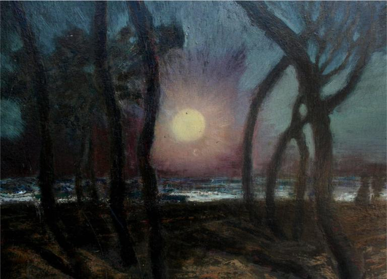 Mid Century Pacific Grove Moonlight Nocturnal Landscape - American Modern Painting by Ferdinand Burgdorff