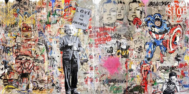 Mr brainwash einstein mural mixed media at 1stdibs for Mural mr brainwash