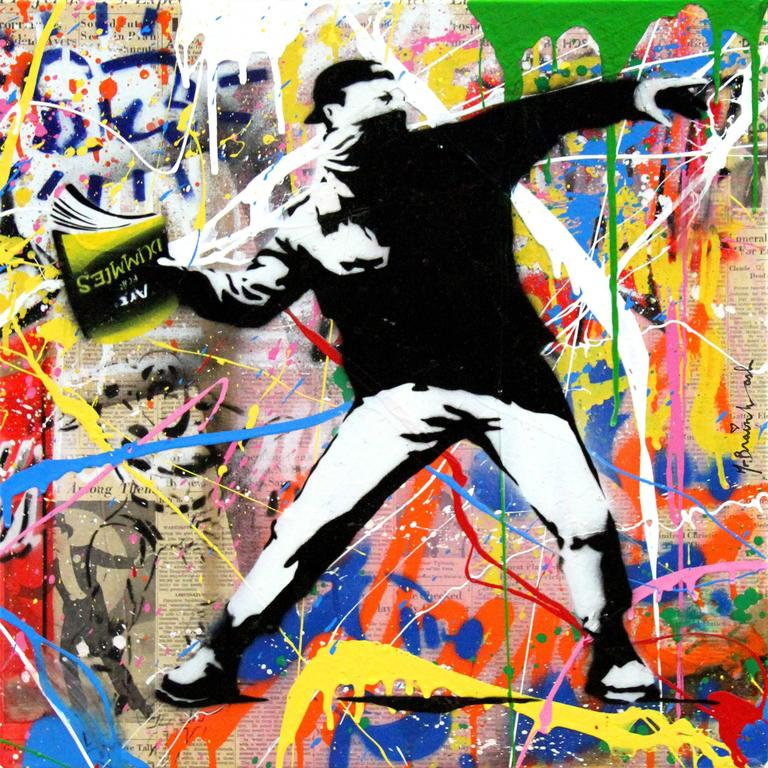 Mr brainwash banksy thrower painting for sale at 1stdibs for Mural painted by street artist mr brainwash
