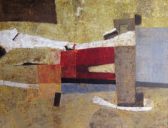 """Abduction of the Emperor"", 1960's MId-Century Modern Abstract Oil Painting"