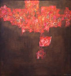 """Capriccio Espagnole"", 1960's Mid-Century Modern Geometric Abstract Oil Painting"