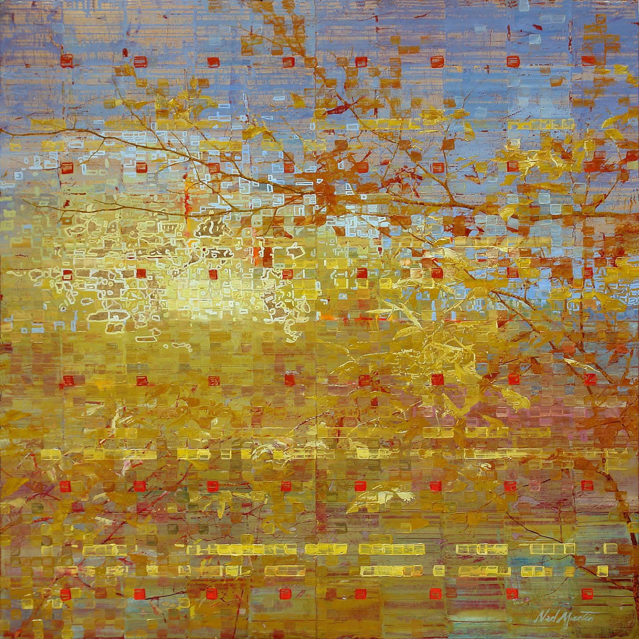 Abstract Painting White Top Yellow And Brown Bottom