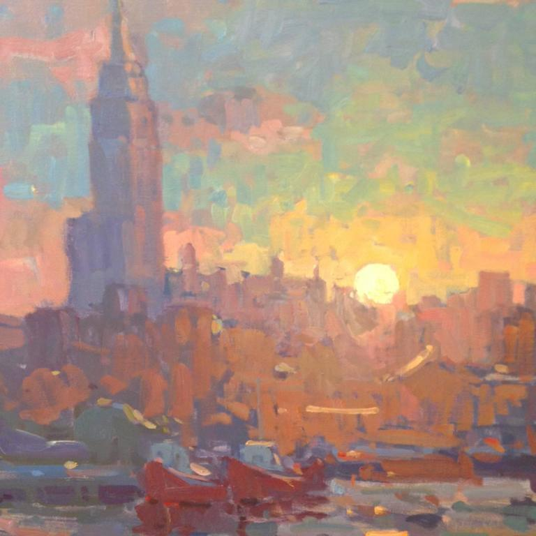 john c traynor sunrise over nyc painting for sale at 1stdibs. Black Bedroom Furniture Sets. Home Design Ideas