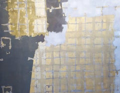 """Ancient History"", Large Contemporary Geometric Gold Oil Painting"