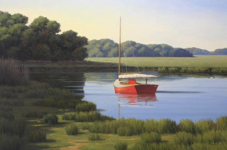 Ronald Tinney Landscape Painting - 'Taking a Break', Cape Cod Modern Impressionist Marine Oil Painting