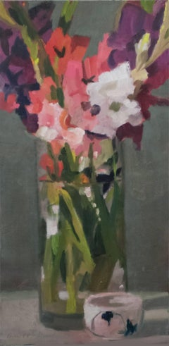 """Long and Short"", Contemporary Still-Life Floral Oil Painting"