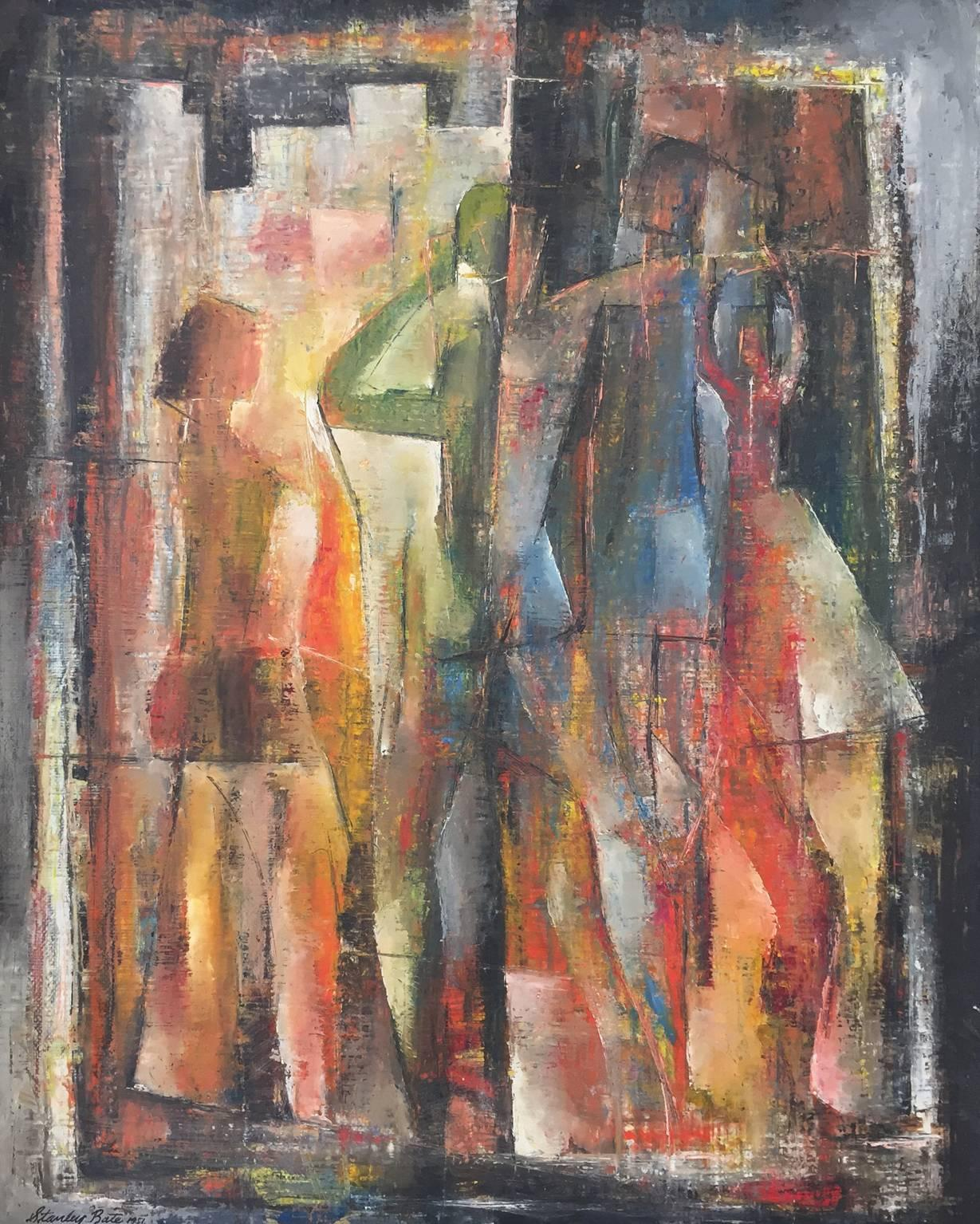 """""""Three Images,"""" 1950s Modern Abstract Painting"""