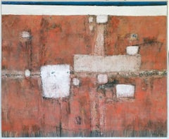 """Sobras"", Large 1960's Mid-Century Modern Abstract Oil Painting, modern art"