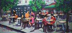 'Paris Cafe', Bold Graphic Contemporary Parisian Cafe Oil Painting