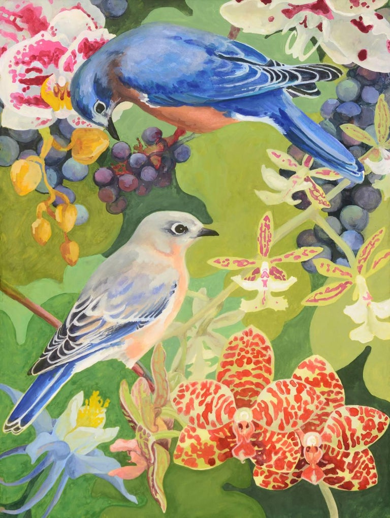 'Duet', Contemporary Flora and Fauna Gouache Painting