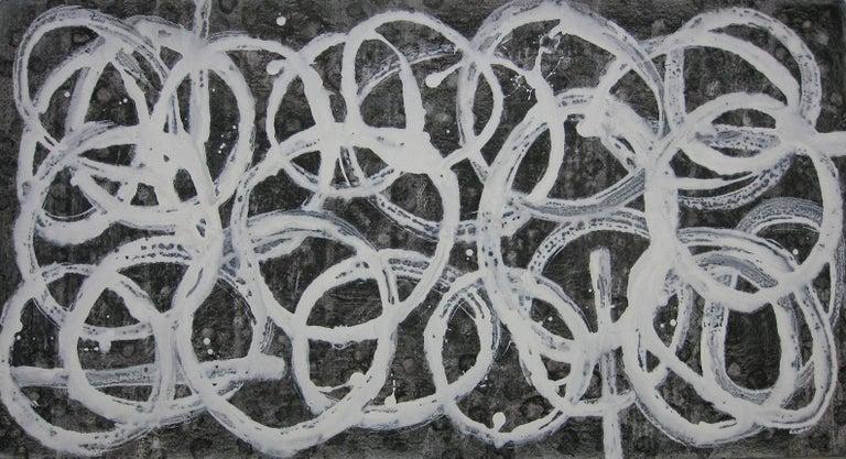Kiyoshi Otsuka Landscape Painting - 'Onkyo (Acoustics)', Black and White Abstract minimalist Japanese painting