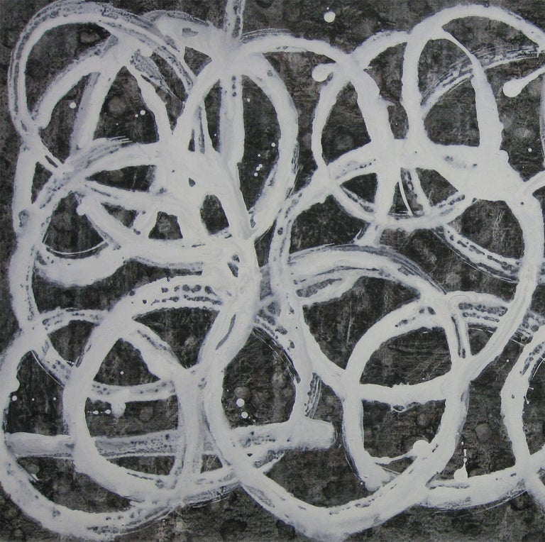'Onkyo (Acoustics)', Black and White Abstract minimalist Japanese painting - Painting by Kiyoshi Otsuka
