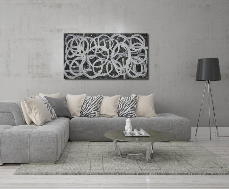 Black and white, circles, drips, geometric, minimalist, abstract, contrast, horizontal, grey, grayscale, contemporary, interior design, interior decor, designer, home decor, ready to hang, minimalism  BIOGRAPHY  Born in the mountains north of Tokyo