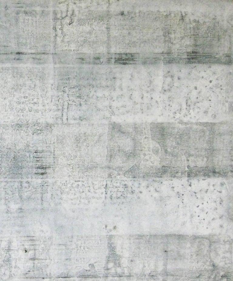 'Hatake', Black and White Abstract minimalist Japanese painting - Gray Abstract Painting by Kiyoshi Otsuka