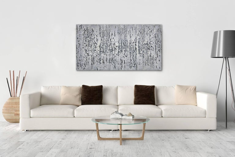Black and white, drips, geometric, minimalist, abstract, contrast, horizontal, layers, grey, grayscale, contemporary, interior design, interior decor, ready to hang, japanese drip painting  BIOGRAPHY  Born in the mountains north of Tokyo in Gumma