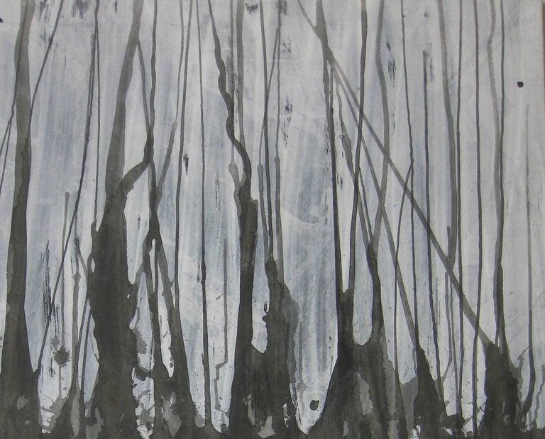 'Mizuumi 4', Black and White Abstract minimalist Japanese painting - Painting by Kiyoshi Otsuka