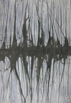 'Mizuumi 4', Black and White Abstract minimalist Japanese painting