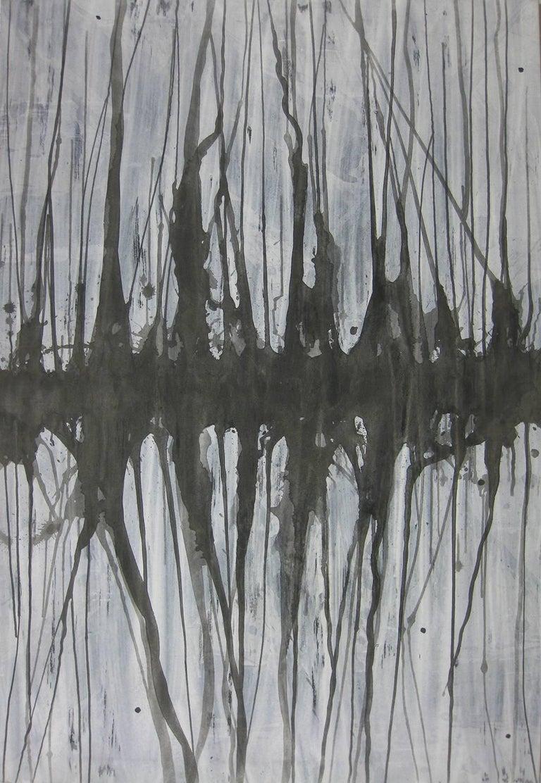 Kiyoshi Otsuka Abstract Painting - 'Mizuumi 4', Black and White Abstract minimalist Japanese painting
