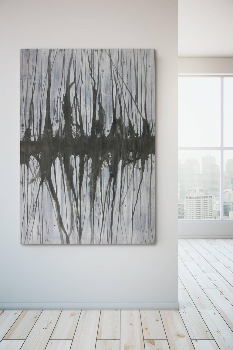 Black and white, drips, geometric, minimalist, abstract, contrast, series, grey, greyscale, contemporary, interior design, interior decor, pattern, designer, ready to hang, serene, calming, calm, modern  BIOGRAPHY  Born in the mountains north of