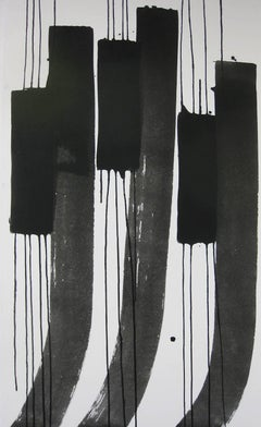 'Cat-tails 1', Black and White Abstract minimalist Japanese painting