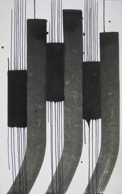 'Cat-tails 2', Black and White Abstract minimalist Japanese painting