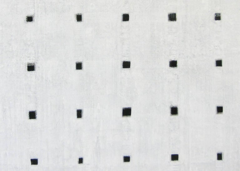 'Connections 2', Black and White Abstract minimalist Japanese painting - Contemporary Painting by Kiyoshi Otsuka