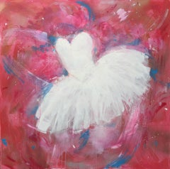 'Leaping Dreams', Large contemporary acrylic mixed media ballet painting