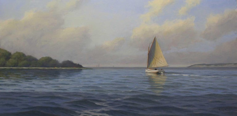 'Breezy Afternoon', Cape Cod Framed Modern Impressionist Marine Oil Painting