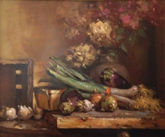 'Hydrangeas on the Table', Contemporary Impressionist Still Life Oil Painting
