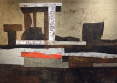 """Oracle"", 1960's Mid-Century Modern Abstract Geometric Oil Painting"