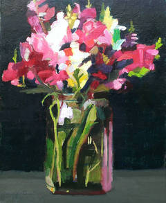 """""""Summer Bouquet 2"""", Contemporary Floral Still-life Oil Painting"""